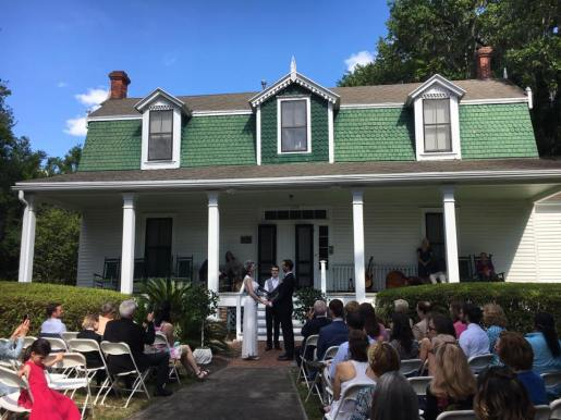 Wedding on the front steps of the 1867 Matheson House