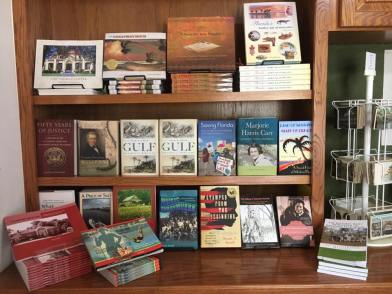 A display of books in the gift shop