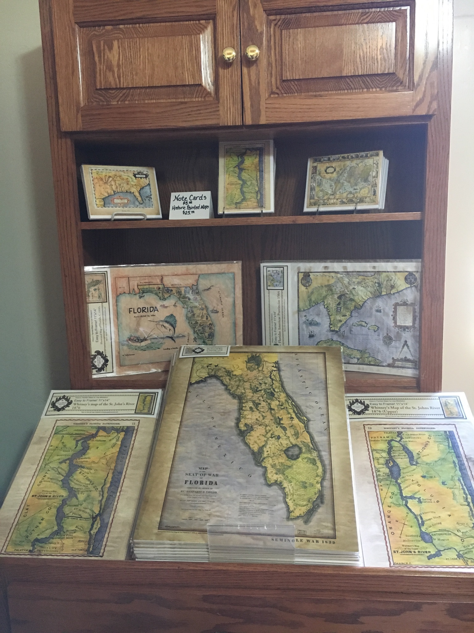A display of maps in the gift shop