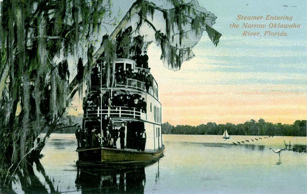 Color postcard of a steamer entering the Ocklawaha River