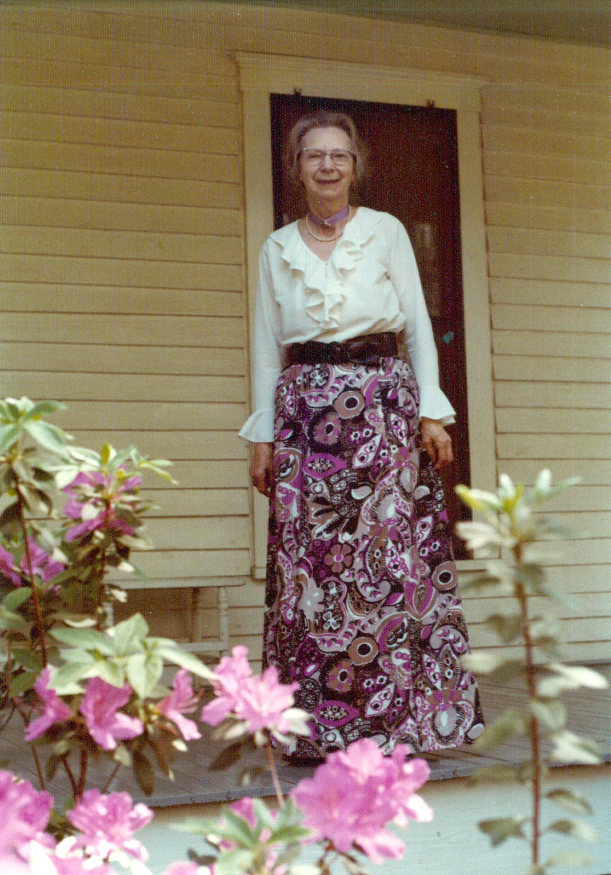 Sarah Matheson 1976 on Matheson House porch