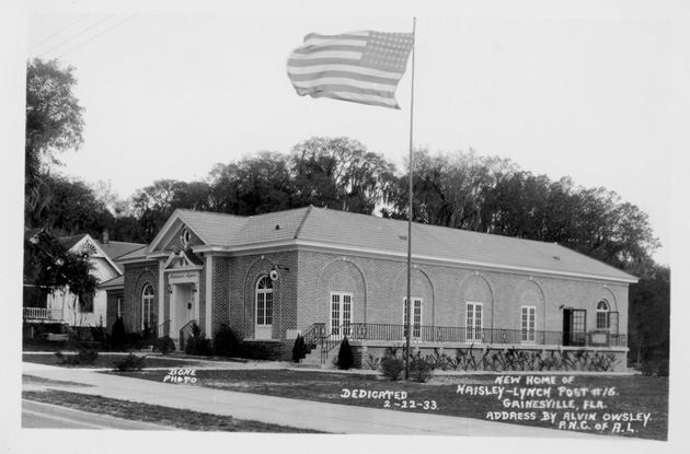 Black and white image of the American Legion Hall in 1933